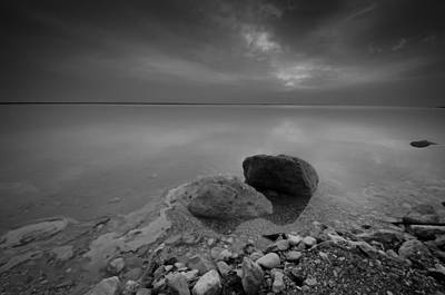 Photograph - Dead Sea Sunrise Black And White by David Morefield