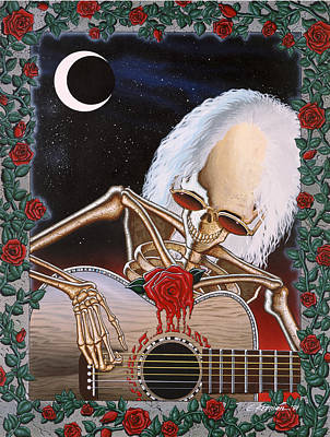 Rose And Skull Painting - Dead Serenade by Gary Kroman