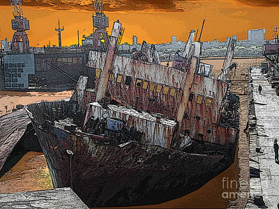 Muelle Digital Art - Dead Ship 1 by Gustavo Mazzoni