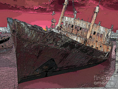 Muelle Digital Art - Dead Ship 3 by Gustavo Mazzoni
