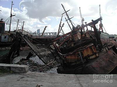 Dead Ship 4 Art Print by Gustavo Mazzoni
