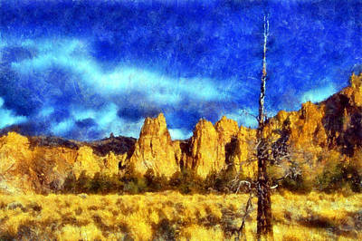 Digital Art - Dead Tree At Smith Rock Park by Kaylee Mason
