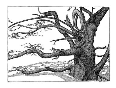 Art Print featuring the drawing Dead Tree by Daniel Reed