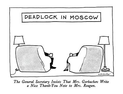 Moscow Drawing - Deadlock In Moscow The General Secretary Insists by James Stevenson