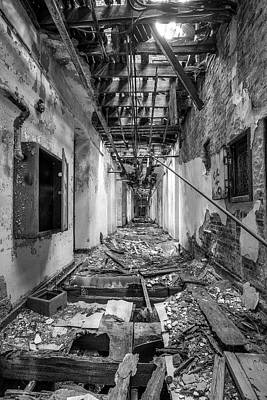 Photograph - Deadly Corridor - Abandoned Asylum Building by Gary Heller