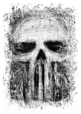Grunge Skull Painting - Deadly Skull by Roseanne Jones