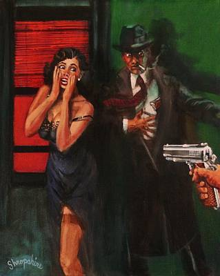 Film Noir Painting - Deadly Surprise by Tom Shropshire