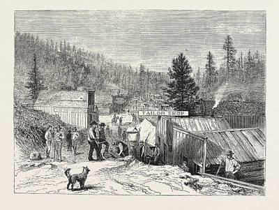 Sioux Drawing - Deadwood City, Black Hills, The Sioux War by American School