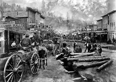 Victorian Town Digital Art - Deadwood South Dakota Around 1876 by Daniel Hagerman