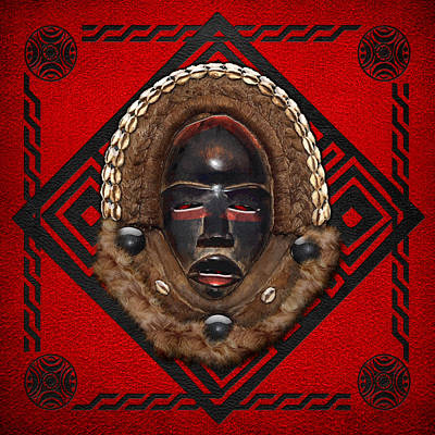 Digital Art - Dean Gle Mask By Dan People Of The Ivory Coast And Liberia On Red Leather by Serge Averbukh