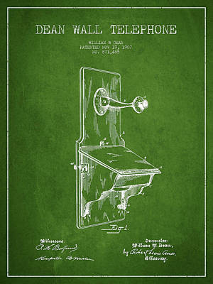 Dean Wall Telephone Patent Drawing From 1907 - Green Art Print by Aged Pixel