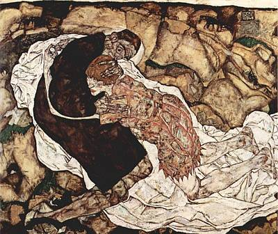 Distortion Painting - Death And The Maiden by Egon Schiele