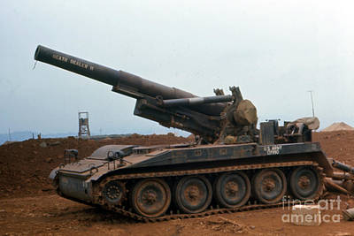 Photograph - Death Dealer II  8 Inch Howitzer  At Lz Oasis Vietnam 1968 by California Views Archives Mr Pat Hathaway Archives