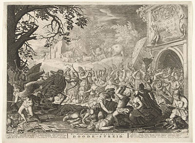 Death Fights Against Humanity Art Print by Bo?tius Adamsz. Bolswert And David Vinckboons And Abraham Allard