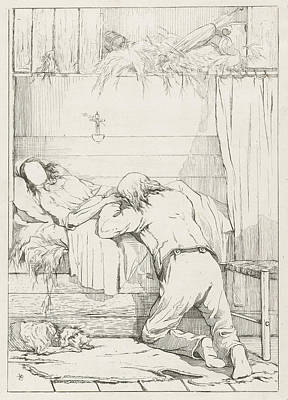 Quietly Drawing - Death Of A Loved One by Karel Frederik Bombled