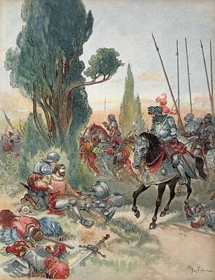 Knight Drawing - Death Of Bayard, Illustration by Albert Robida