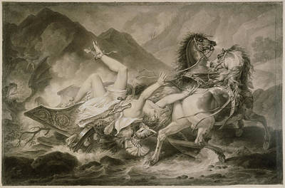 Incised Drawing - Death Of Hippolytos Carle Vernet, French by Litz Collection