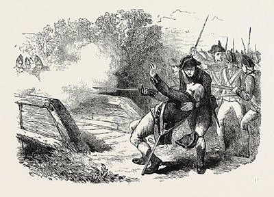 Minutemen Drawing - Death Of Isaac Davis, He Was A Gunsmith And A Militia by English School