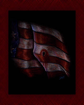 Star Spangled Banner Drawing - Death Of Liberty by Michael Wheeler