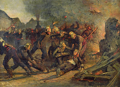 Colonel Wall Art - Photograph - Death Of Lt. Col. Froidevaux 1850-87 Of The Paris Fire Brigade, 1887 Oil On Canvas by Emile Renard