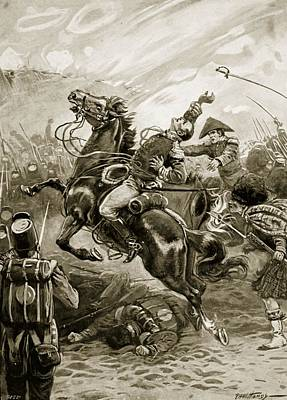 Major General Drawing - Death Of Sir Edward Pakenham by Paul Hardy