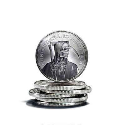 Francs Photograph - Death Of Swiss Franc by Smetek