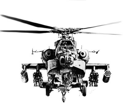 Helicopter Drawing - Death Rides A Pale Horse by Murray Jones