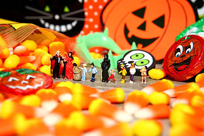 Death Takes His Kids Trick Or Treating Art Print by Lon Casler Bixby