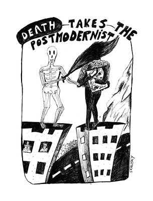 Skyscrapers Drawing - Death Takes The Postmodernist by Stephanie Skalisk