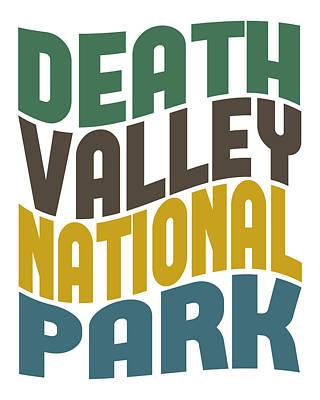 Death Valley Digital Art - Death Valley National Park Retro Wave by Flo Karp