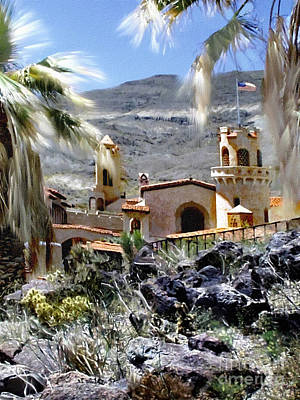 Death Valley Painting - Death Valley Scotty's Castle by Bob and Nadine Johnston