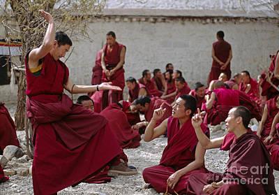 Photograph - Debating Monks - Sera Monastery Lhasa by Craig Lovell