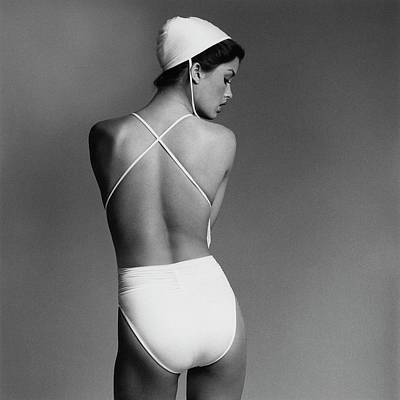 Bathing Suit Photograph - Debbie Dickinson Wearing A Kamali Bathing Suit by Francesco Scavullo