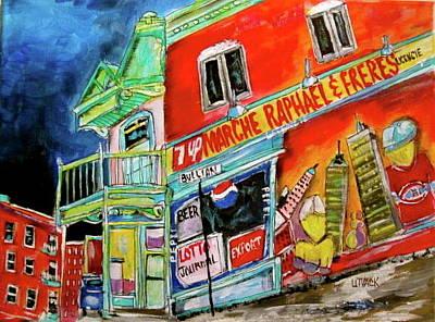 Le Plateau. Montreal Memories Painting - Debullion Raphael Depanneur by Michael Litvack