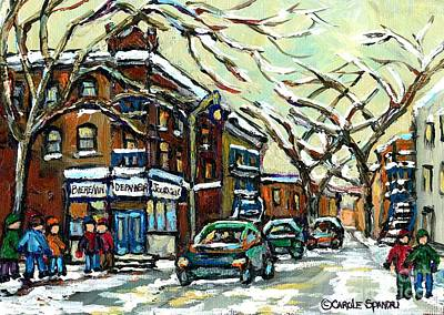 Painting - Debullion Street Corner Depanneur Winter Scene Painting January Montreal Memories Carole Spandau Art by Carole Spandau