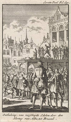 Decapitation Drawing - Decapitation Of The Counts Egmont And Horne by Jan Luyken And Engelbrecht Boucquet
