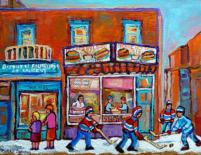 Streets Of Quebec Painting - Decarie Hot Dog Restaurant Ville St. Laurent Montreal  by Carole Spandau