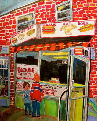 Litvack Painting - Decarie Hot Dogs Montreal by Michael Litvack