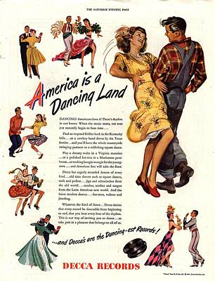 Nineteen Forties Drawing - Decca Records 1940s Usa  Dancing by The Advertising Archives