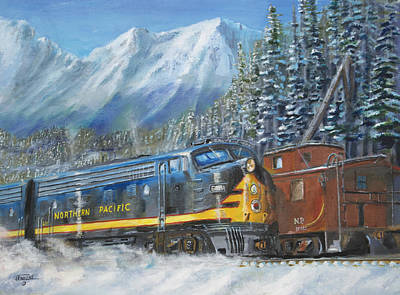 Caboose Painting - December On Stampede Pass by Christopher Jenkins