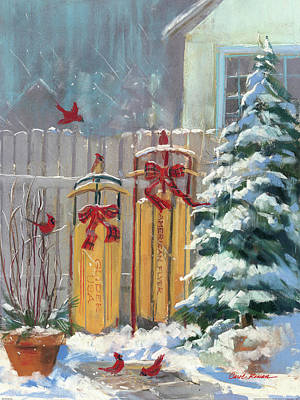 Sledding Painting - December Sleds by Carol Rowan