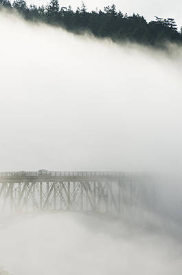 Schafer Photograph - Deception Pass Bridge In Fog Whidbey Isl by Kevin Schafer