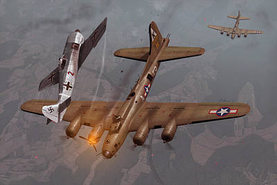 B-17 Wall Art - Painting - Decision Over Schweinfurt by Hangar B Productions