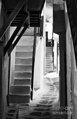 Photograph - Decisions In Mykonos Town Mono by John Rizzuto