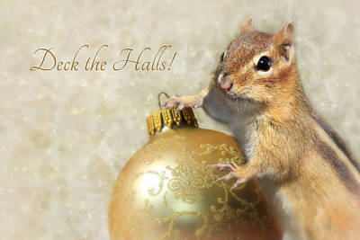 Christmas Squirrels Wall Art - Photograph - Deck The Halls by Lori Deiter