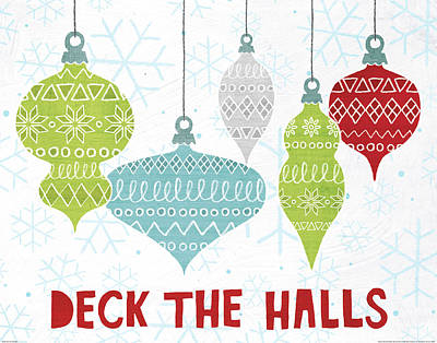 Deck The Halls Red Art Print by Moira Hershey