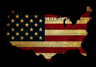 Declaration Of Independence Grunge America Map Flag Art Print by Matthew Gibson