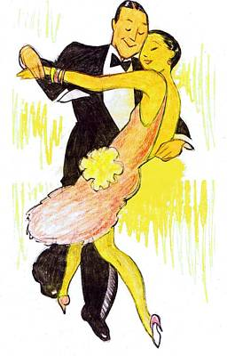 Peach Drawing - Deco Dancers by Mel Thompson
