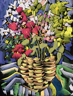 Still Life Drawing - Deco Flowers by Frances Treanor