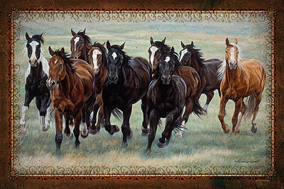 Deco Horses Art Print by JQ Licensing